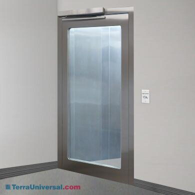Left hand reverse stainless steel door with full view tempered glass window and automatic opening sensor | 1999-96-L displayed