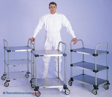 Stainless steel and Chrome Plated Utility Carts by InterMetro features rod or solid steel shelves