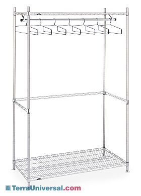 Stainless steel Upright Garment Racks provide clean, space-efficient storage of cleanroom frocks, coveralls and other apparel | 2650-16 displayed