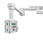 Customizable dual-mount operating room pendants feature a 340 degree rotation, eight integrated rails, adjustable shelves and seamless infection control