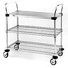Stainless steel and Chrome Plated Utility Carts by InterMetro includes two wire and one solid steel shelf, handles and four casters | 1401-54 displayed