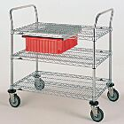 Stainless steel and Chrome Plated Utility Carts by InterMetro includes three wire steel shelves, handles and four casters | 1402-62 displayed