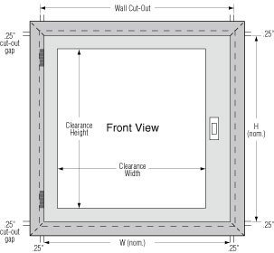 Terra Universal Pass-through wall cut out diagram