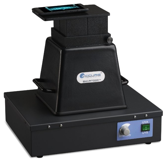 Gel imaging system; works with a smart phone to capture photos. Photo: Accuris