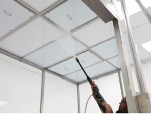 Power wash spray-down sterilizes Tempered Glass Cleanroom