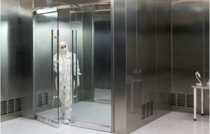 Terra's BioSafe® steel cleanroom with non-contaminating glass doors.