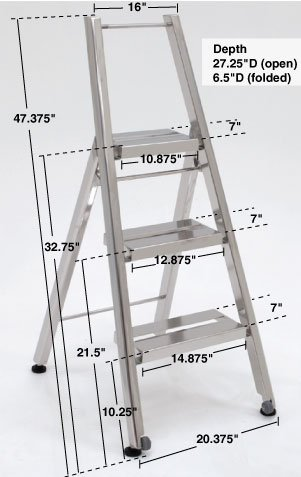 Terra Universal step ladder with folding wheels