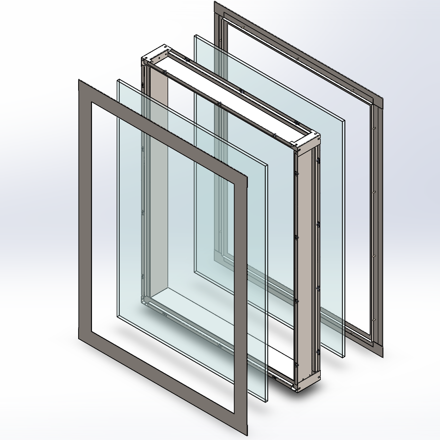 Framed double glazed flush mount cleanroom window exploded view diagram