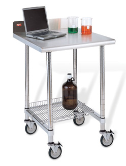 Stainless Steel Worktable with Backsplash and Three-Sided Frame