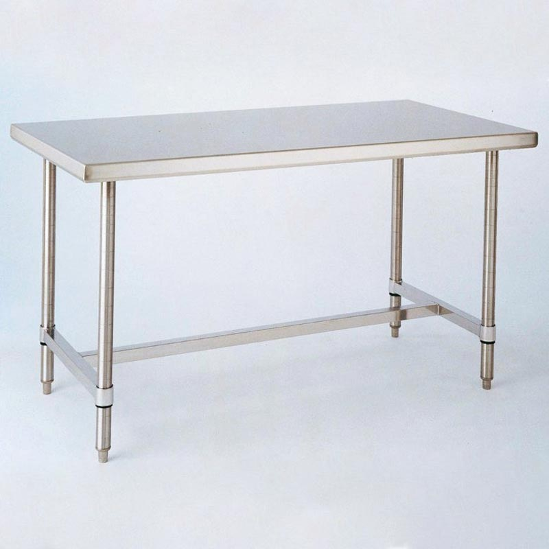 InterMetro Solid-Top Stainless Steel H-Frame Table