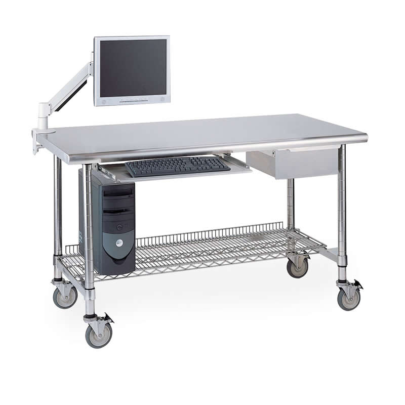 InterMetro Stainless Steel Lab Table with Wire Shelf