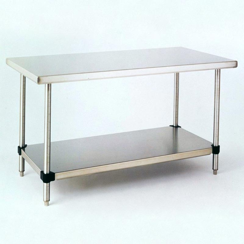 Solid Top Stainless Steel Cleanroom Table With Shelf