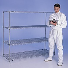 Shelving Unit with Stainless Steel Wire Shelves