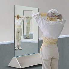 Dual Sided Cleanroom Mirror Close Up with Models