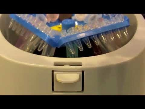 Benchmark My Fuge 12 Mini Centrifuge being shown in a short video demonstration
