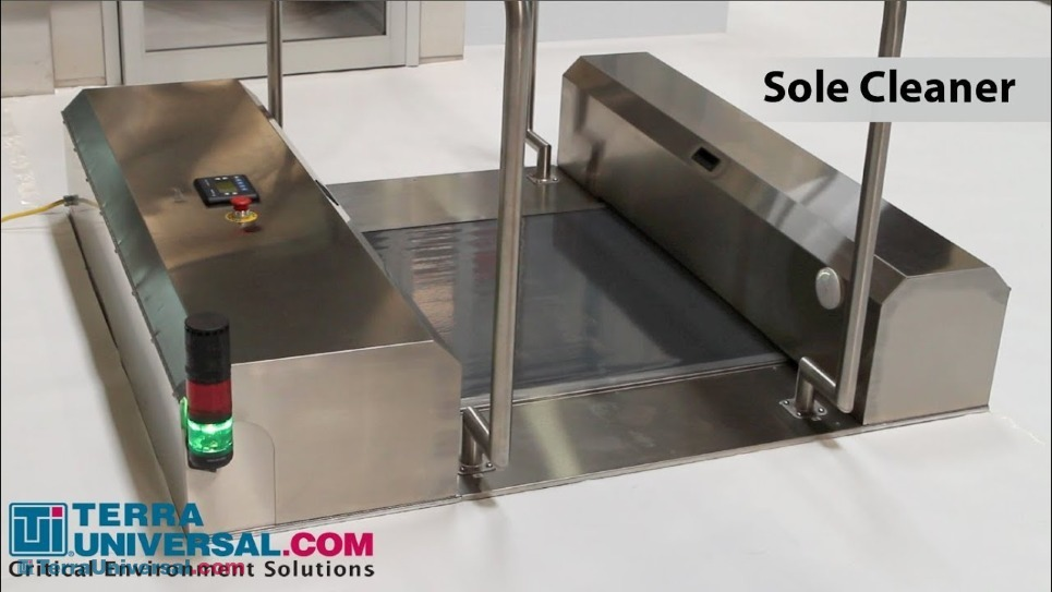 Demonstration of how to move through the Cleanroom Shoe Sole Cleaner