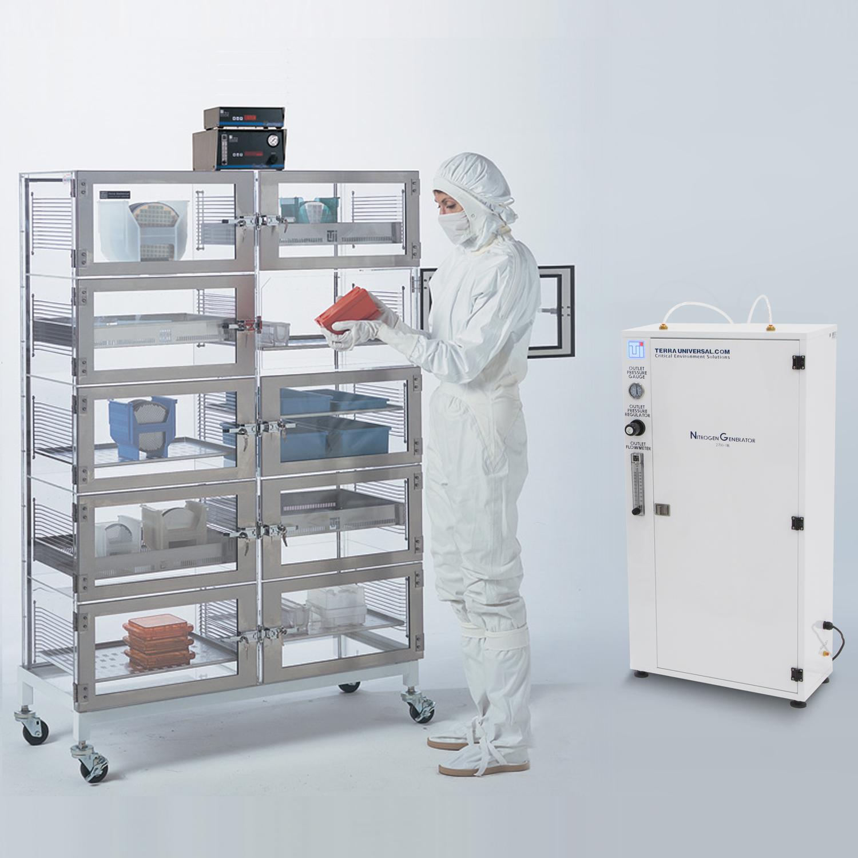 Adjust-a-shelf desiccator cabinet with nitrogen generator and model