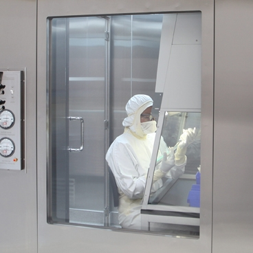 double glazed flush cleanroom window for pharmaceutical laboratory compounding room