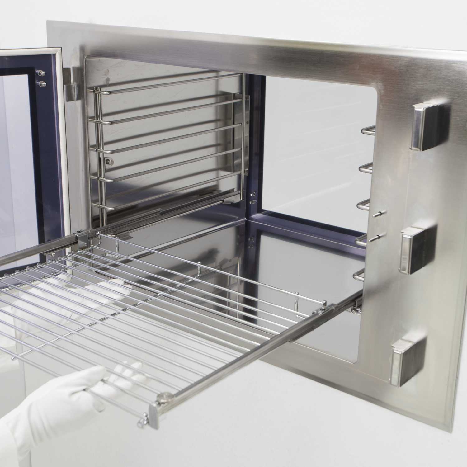 Stainless Steel Slide-Out Pass-Through Shelves