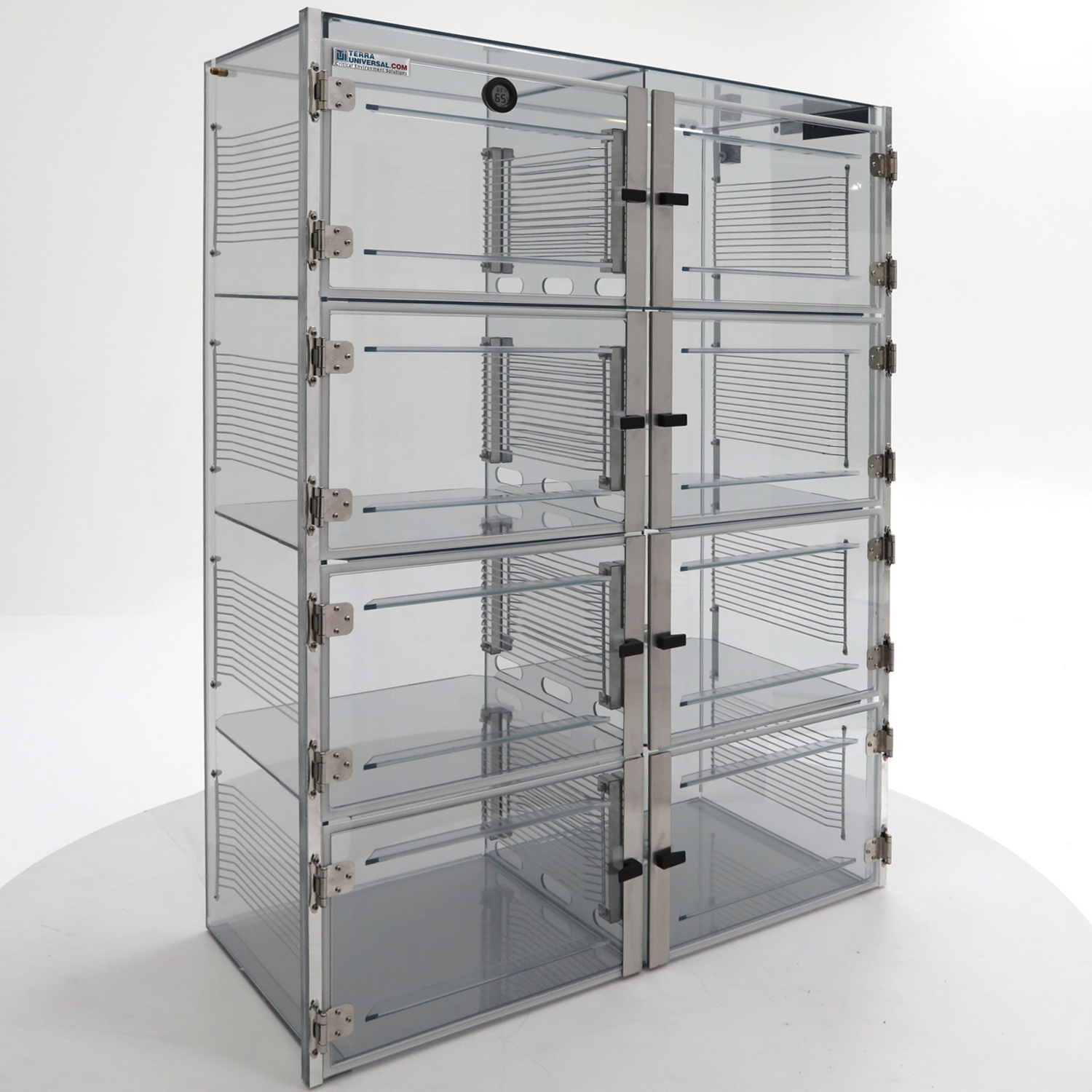 Static-safe desiccator cabinet in SDPVC with 8 chambers and adjustable shelving