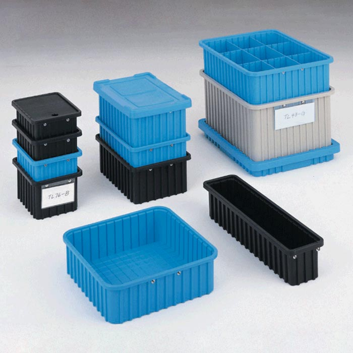 Stackable ESD-Safe Tote Box in Several Dissipative Materials