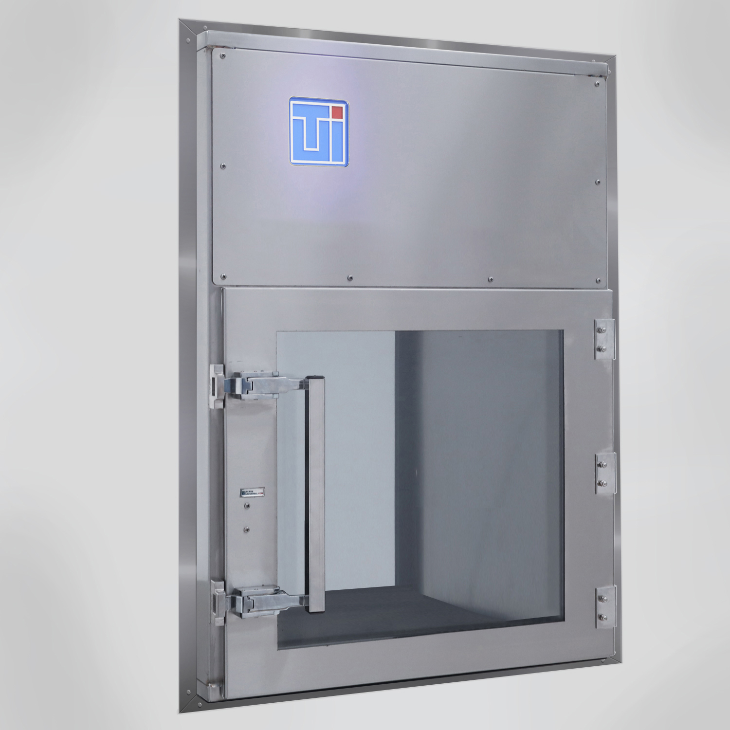 Wall-mounted HEPA-filtered pass-through in 304 stainless steel