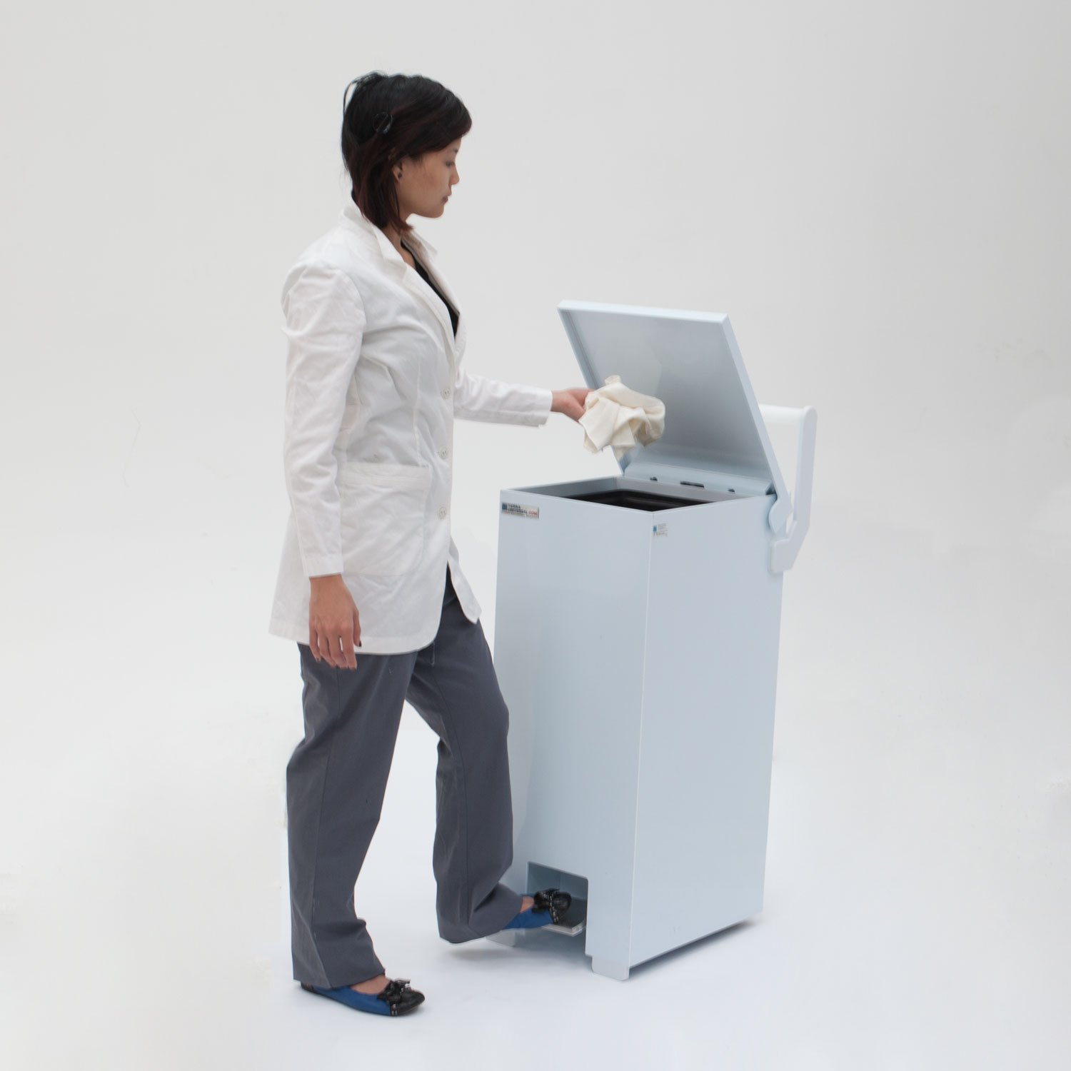White BioSafe Waste Receptacle With Foot Pedal & Wheels