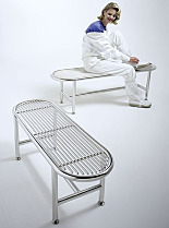 Free-Standing Cleanroom Gowning Benches, Cylinder Frame, Rod Top