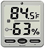 Thermo-Hygrometer; Wireless, LCD, 8-Channel, with Remote Sensor