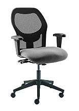 Chair; Lab, Vinyl, Gray, Polished Aluminum, 17