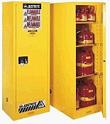 Chemical Storage; Yellow, Deep Slimline Cabinet, Flammable Liquid, Sure-Grip Ex, Self-Closing Single Door, Double-Walled Steel, Justrite