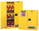 Chemical Storage; Floor Cabinet, Flammable Liquid, Bi-Fold Self Close Door, Sure-Grip Ex, 45 gal, Double-Walled Steel, 43