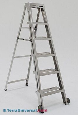 Prime Folding Ladder 5 Steps 304 Ss 22 5W X 5D X 72 3H Biosafe 225 Lbs Capacity Machost Co Dining Chair Design Ideas Machostcouk