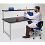 Epoxy resin top laboratory table with sturdy powder-coated steel base, shown with custom overhead shelf  |  2903-09 displayed