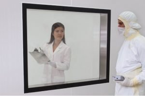 BioSafe® powder-coated flush-mount cleanroom window made of tempered glass.