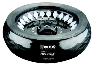 Thermo Scientific Fixed-Angle centrifuge rotor.