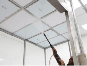 Power wash spray-down sterilizes Tempered Glass Cleanroom