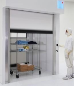 Space-saving, light fabric door is clean and fast!