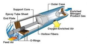 Membrane module showing hollow fibers and compressed air flow