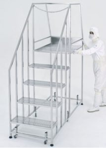 Five-step cleanroom stairs with work platform and safety rails.