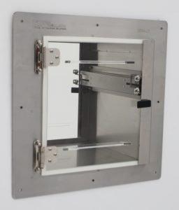 ValuLine stainless steel pass-through with door interlock installed.