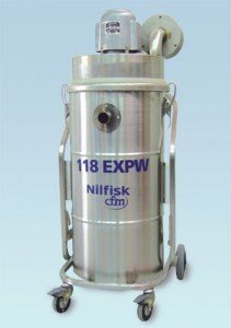Explosion-proof vacuum cleaner for working with flammable material by Nilfisk